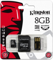 Карта памяти MicroSDHC 8GB Kingston MBLY10G2/8GB Class10 + SD adapter + USB reader