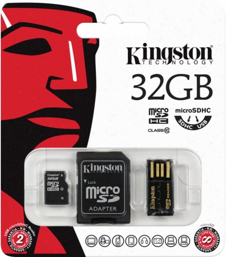 Карта памяти MicroSDHC 32GB Kingston MBLY10G2/32GB Class10 + SD adapter + USB reader