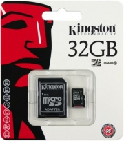 Карта памяти MicroSDHC 32GB Kingston SDC10/32GB Class10 + SD adapter